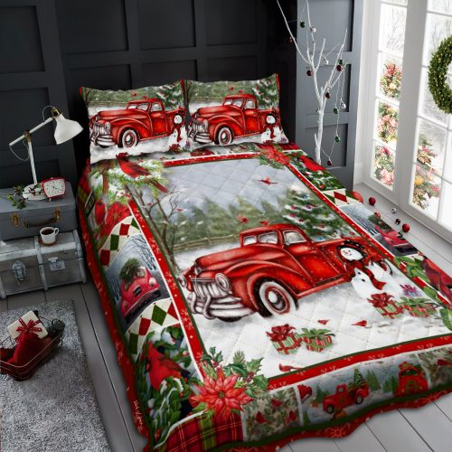 merry christmas and red truck all over print bedding set 2