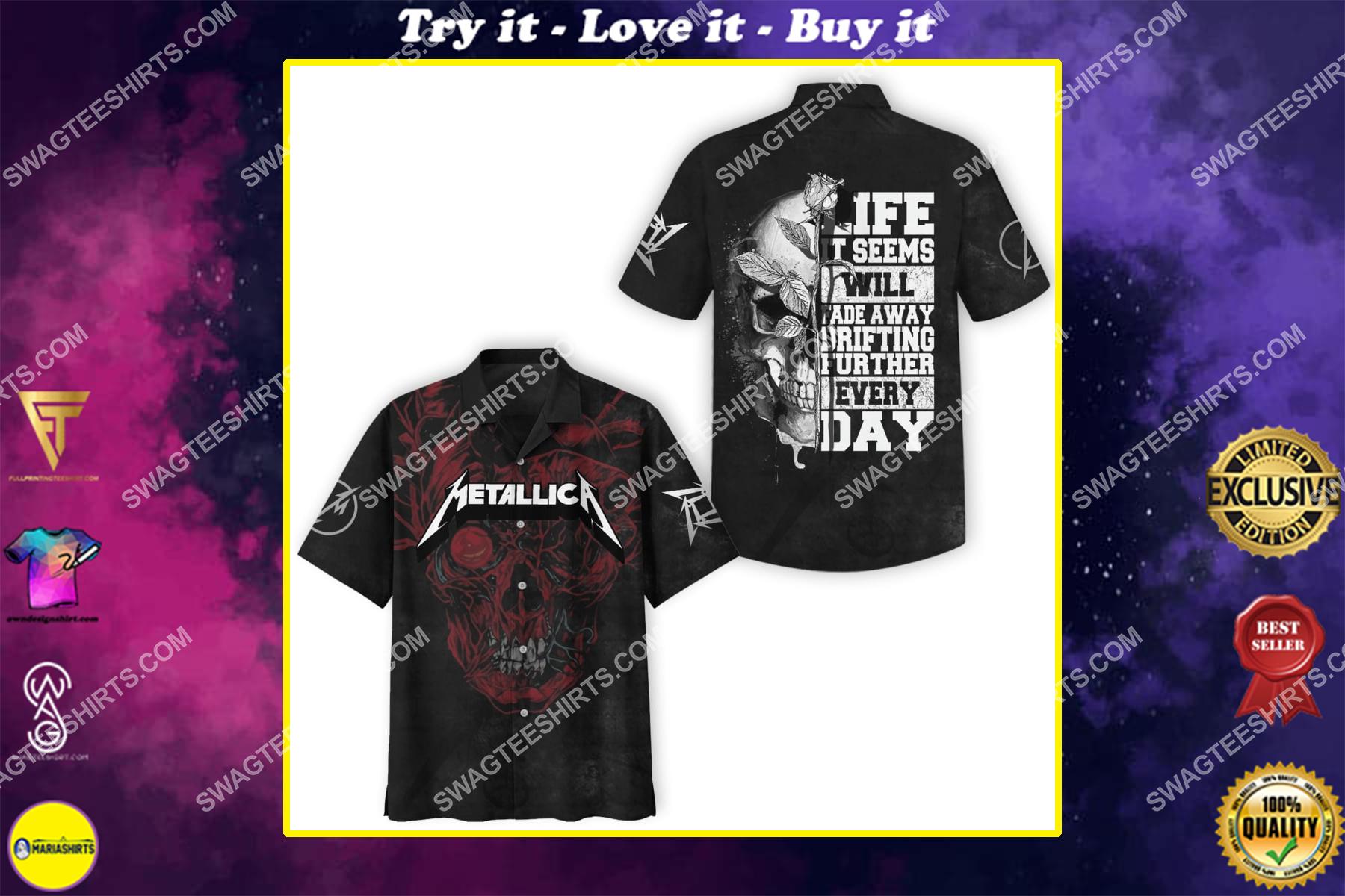 metallica rock band skull full printing hawaiian shirt