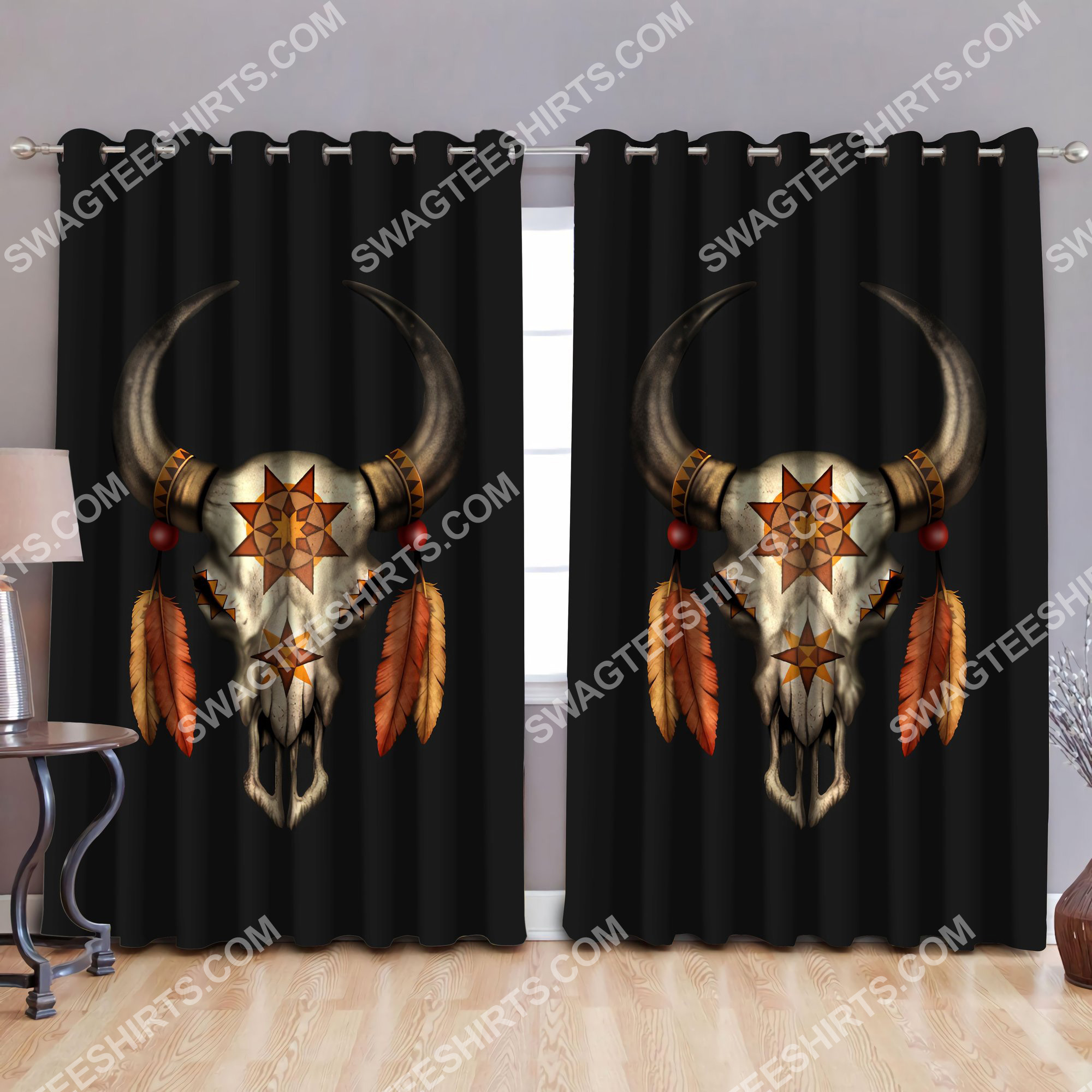 mexican cow skull all over printed window curtains 2(1)