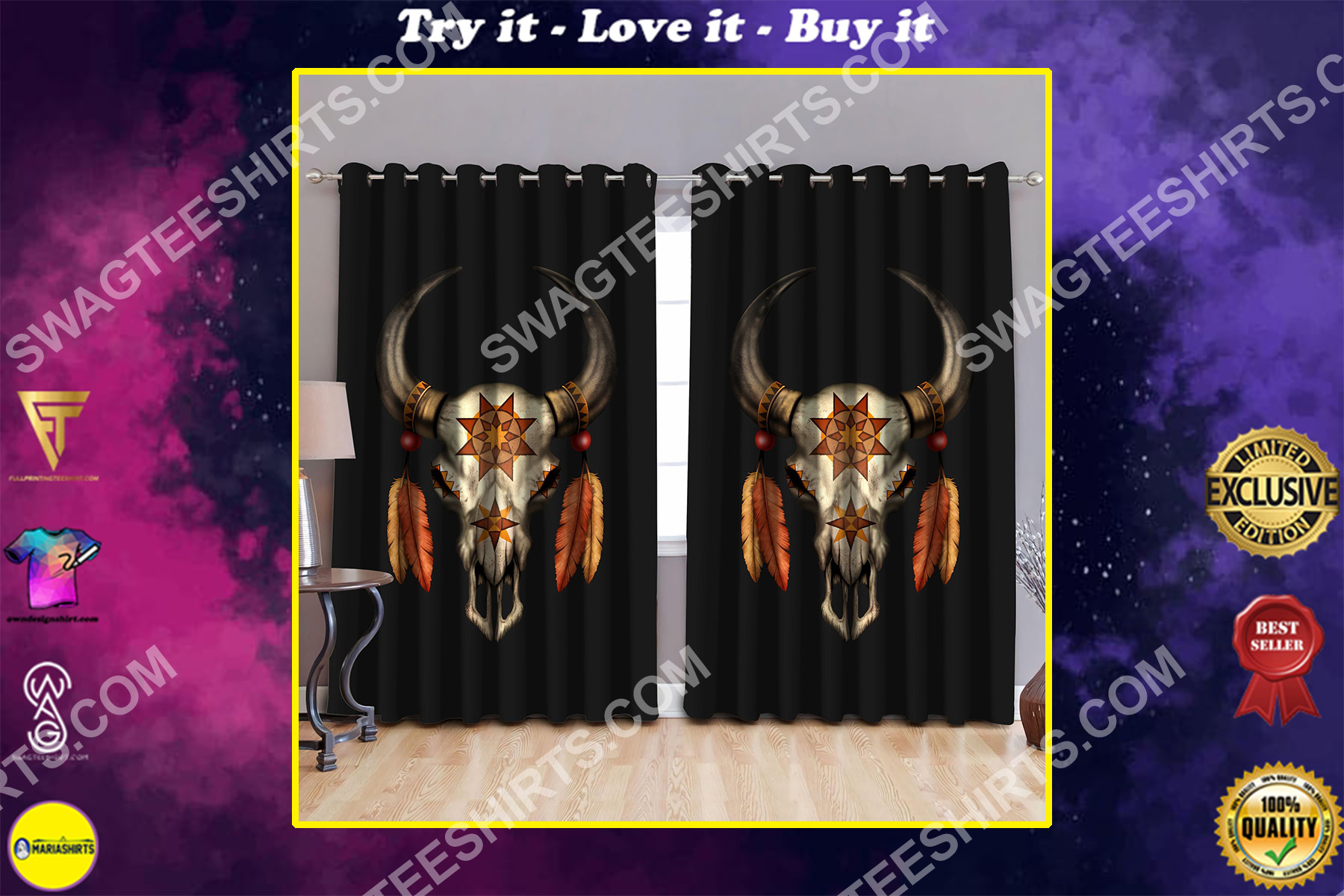 mexican cow skull all over printed window curtains