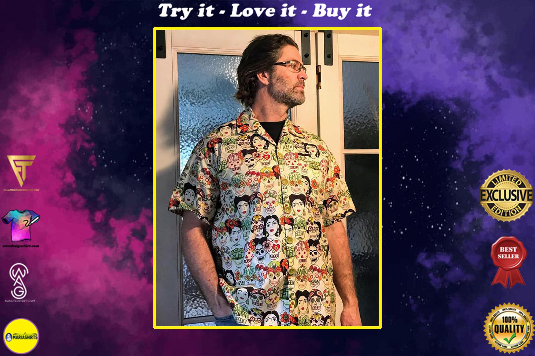mexican inspired all over printed hawaiian shirt