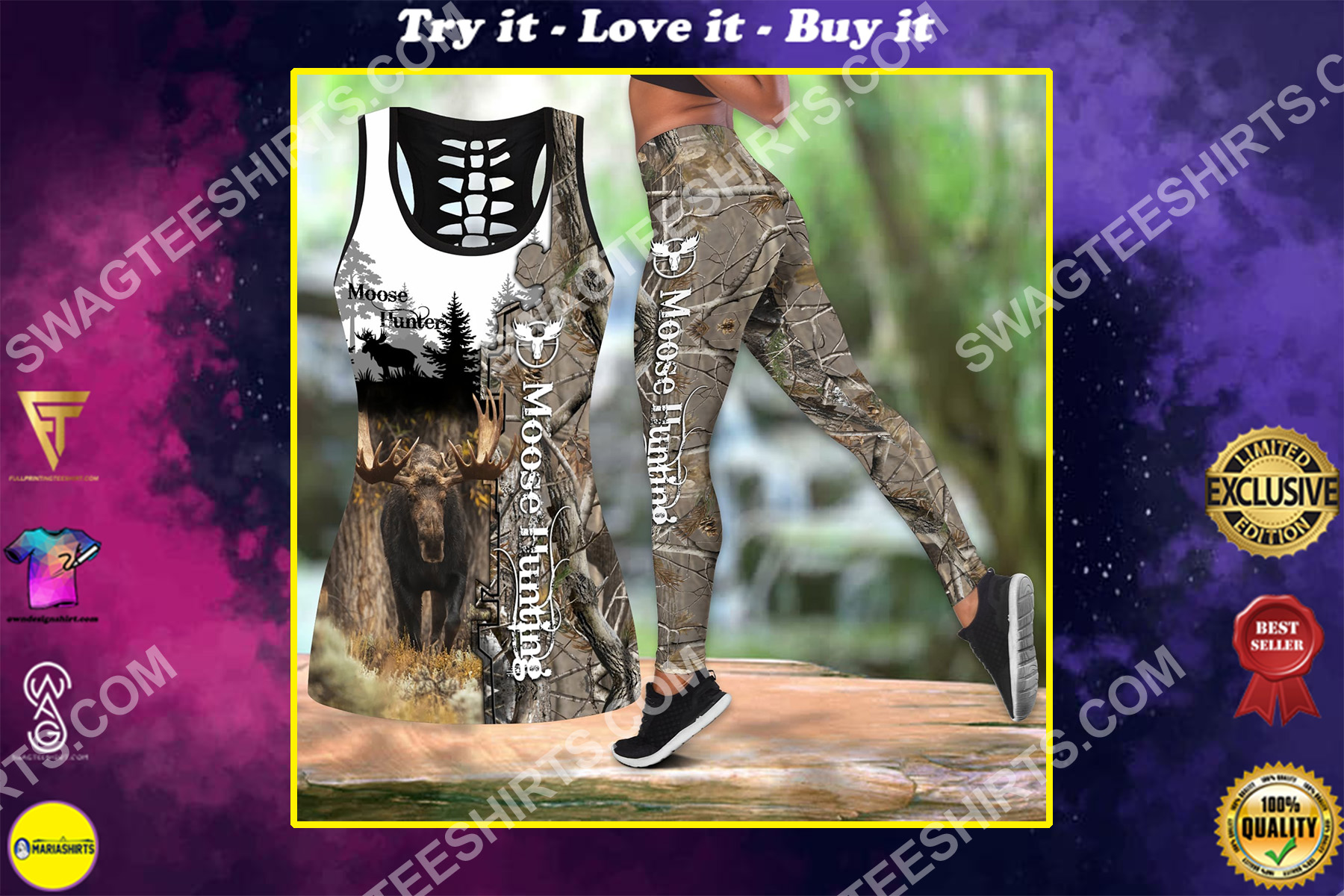 moose hunting camo all over printed set sports outfit