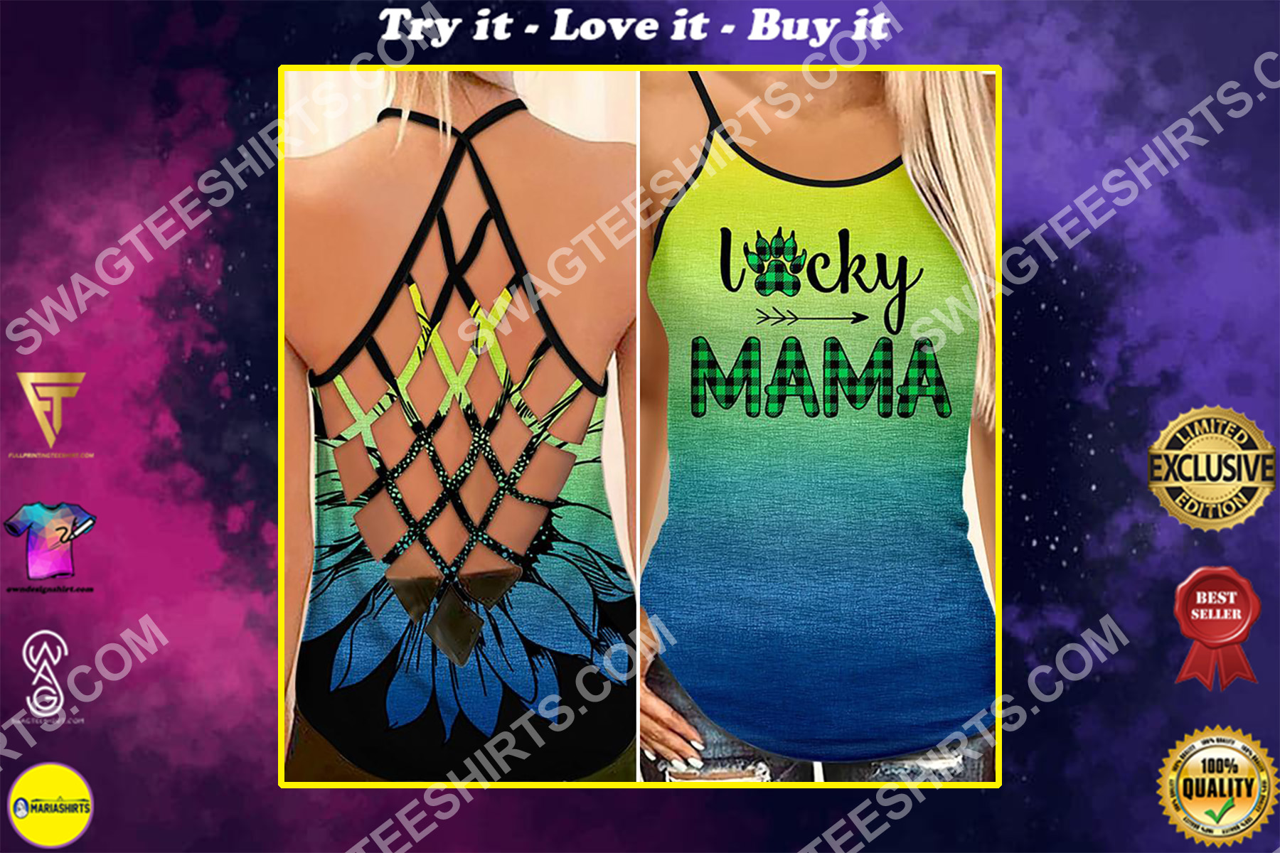 mothers day lucky mama bear all over printed strappy back tank top