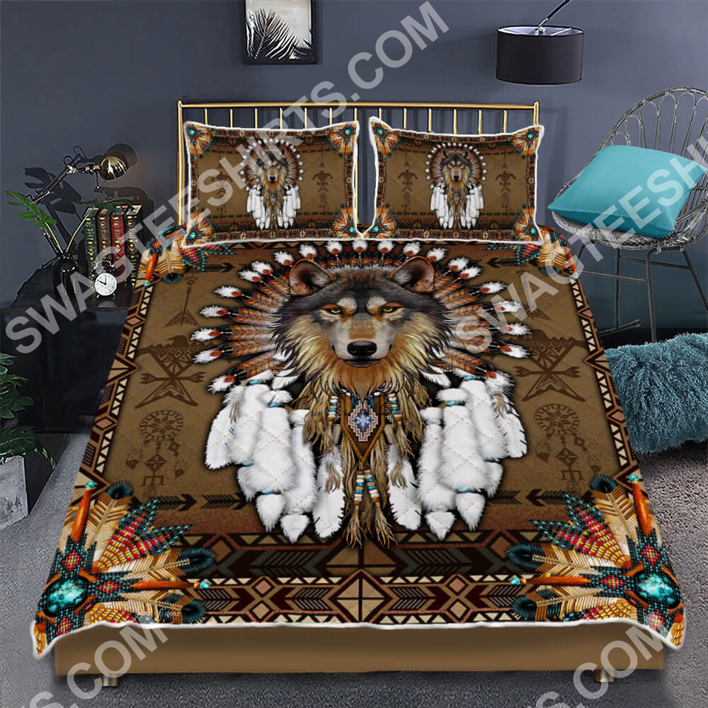 native american and wolf all over printed bedding set 2(1)