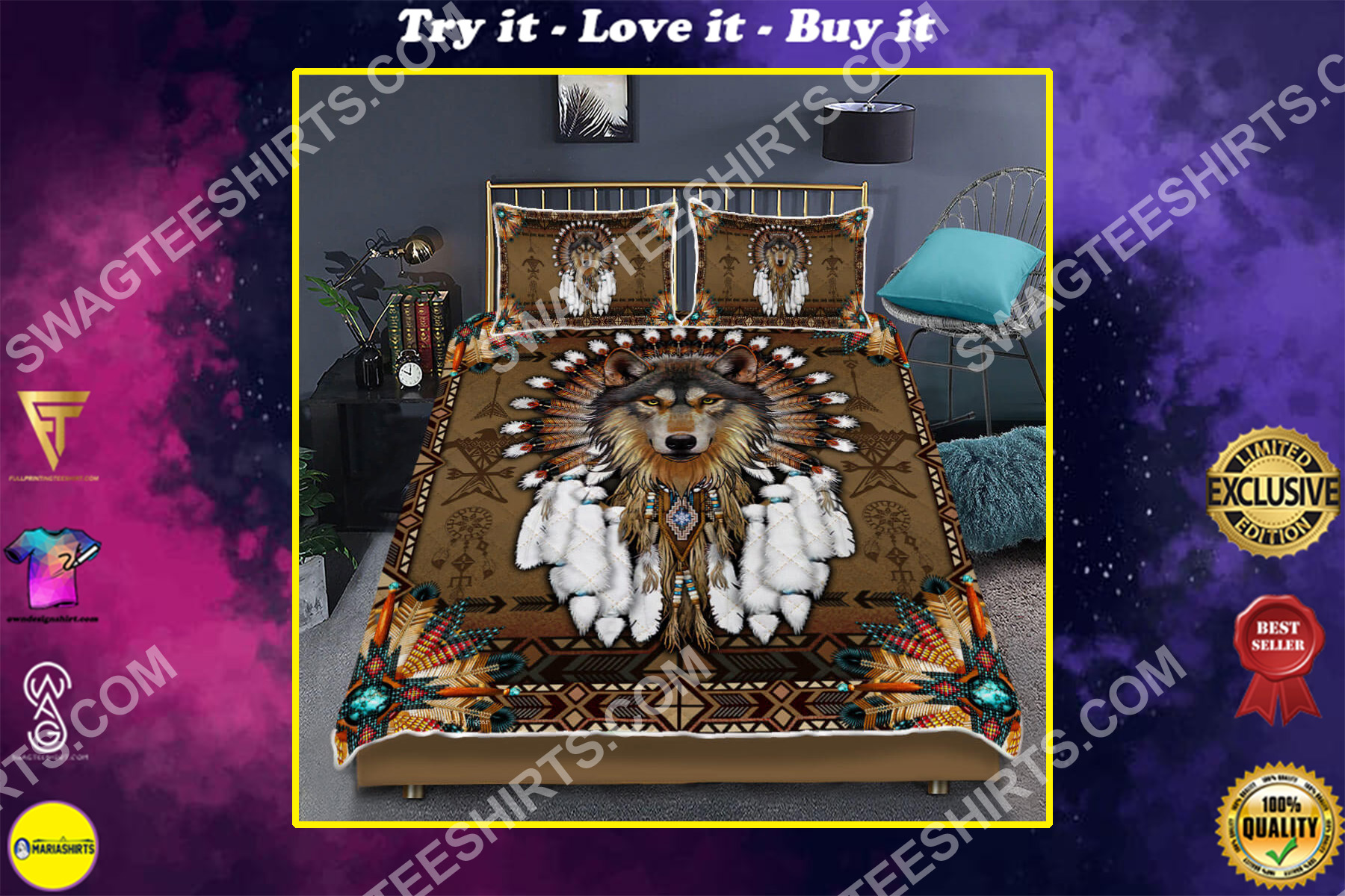 native american and wolf all over printed bedding set