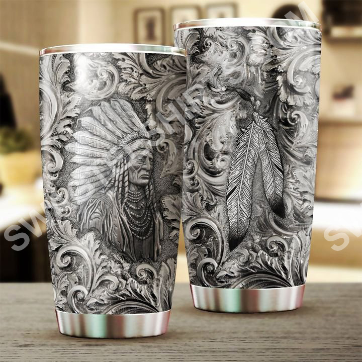 native american chief all over printed stainless steel tumbler 2(1)