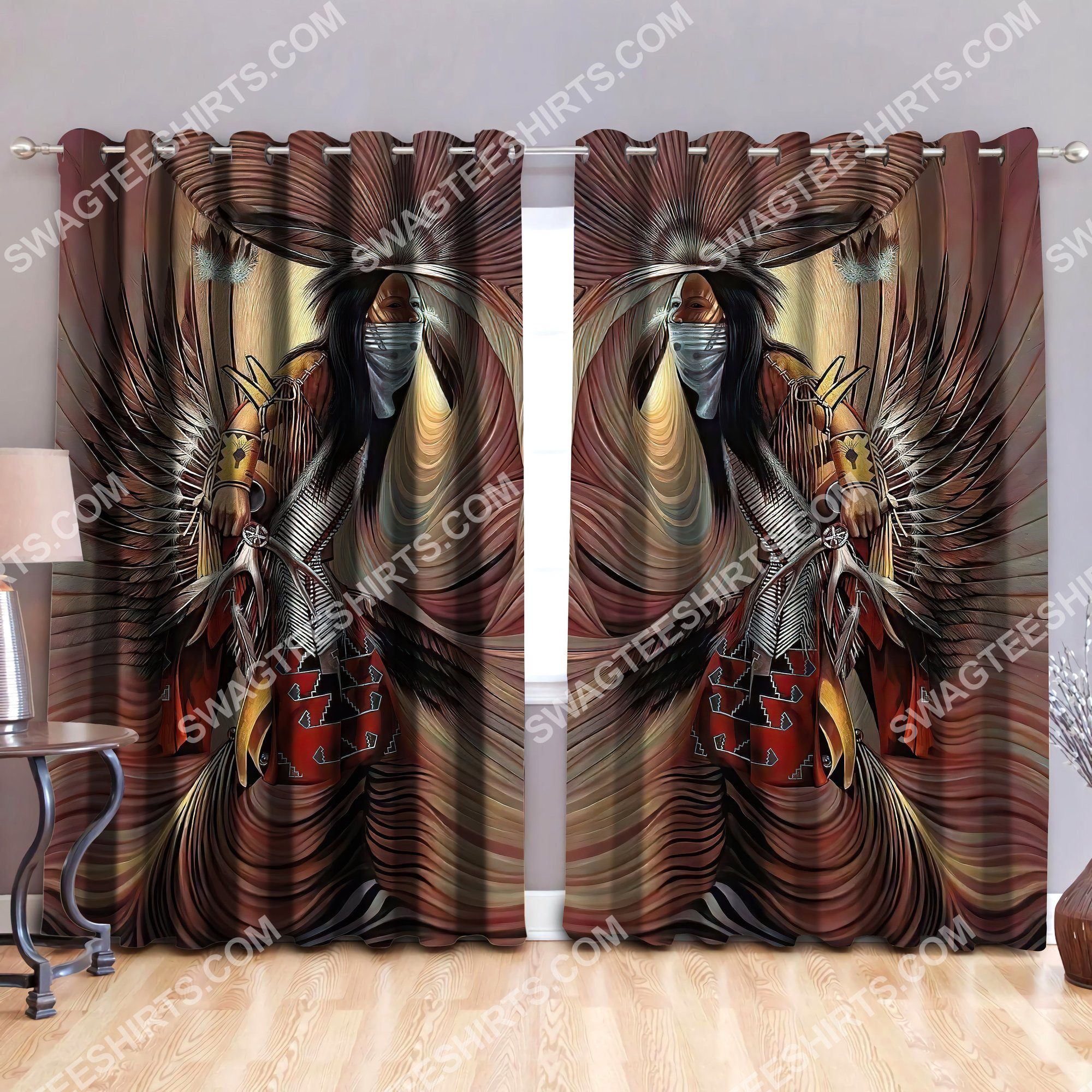 native american man all over printed window curtains 2(1)