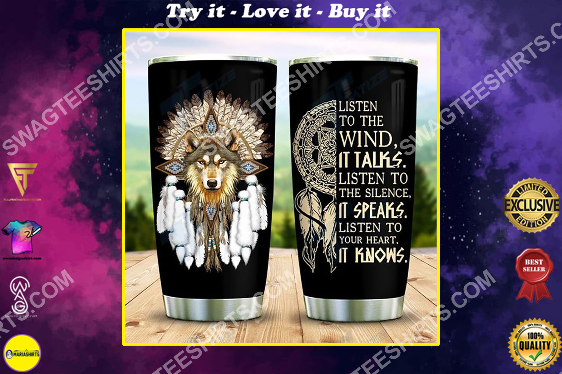 native american wolf listen to the wind it talks all over printed stainless steel tumbler