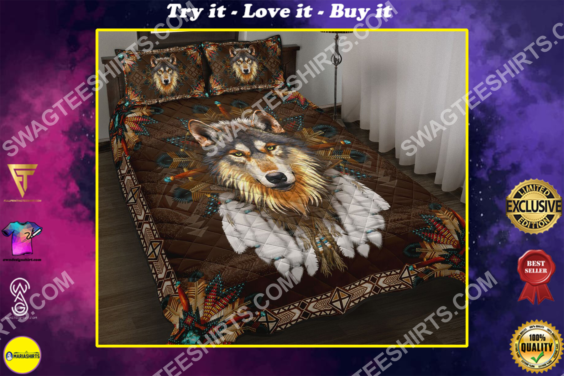 native american wolves all over printed bedding set