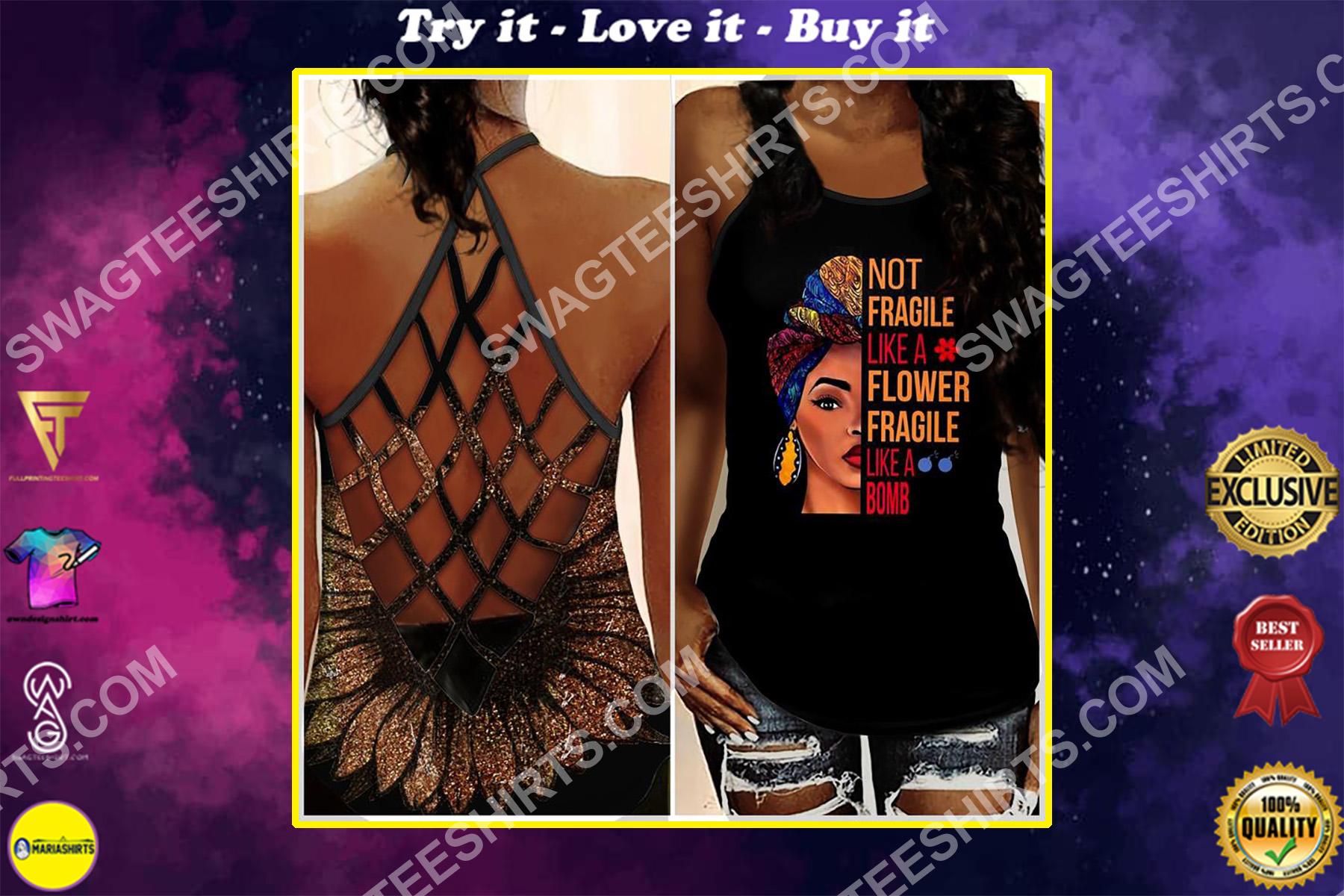 not fragile like a flower fragile like a bomb black girl strappy back tank top