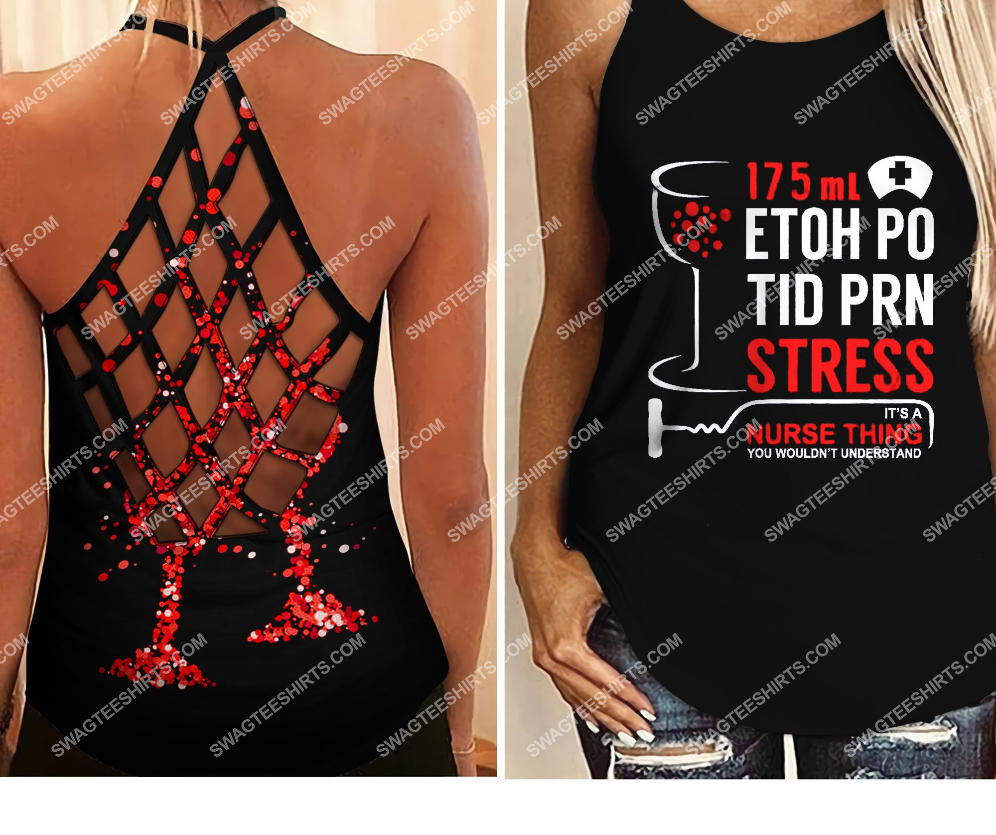 nurse thing all over printed strappy back tank top 2 - Copy (2)