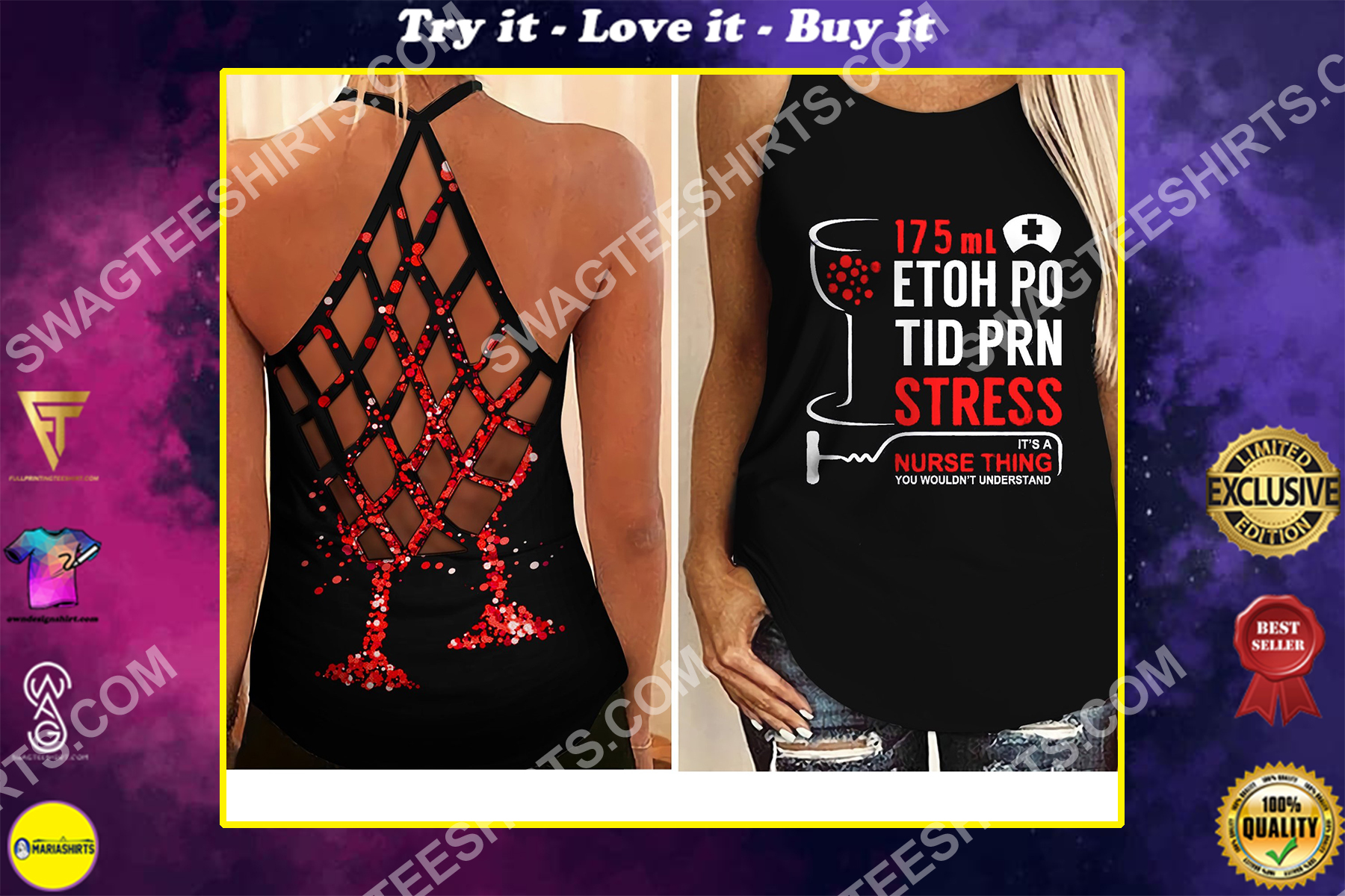 nurse thing all over printed strappy back tank top