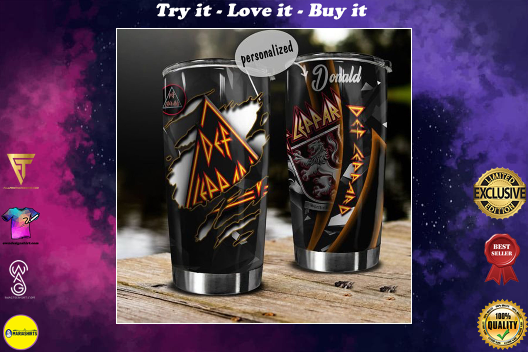 personalized name def leppard rock band tumbler