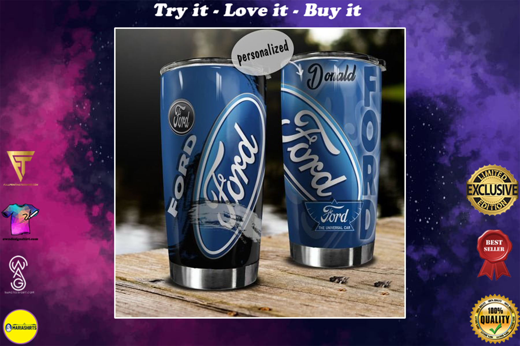 personalized name ford motor company tumbler