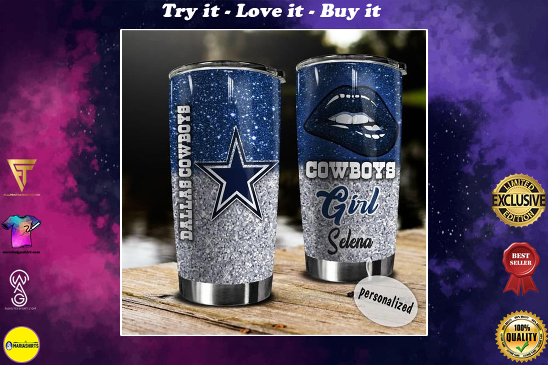 personalized name glitter lips dallas cowboys tumbler
