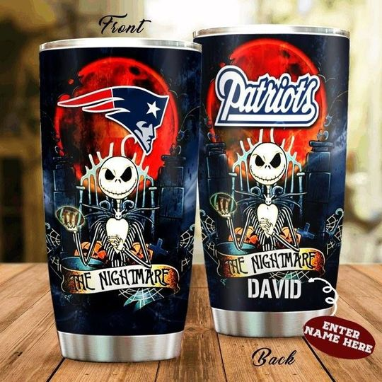 personalized name jack skellington and new england patriots tumbler 1 - Copy (2)
