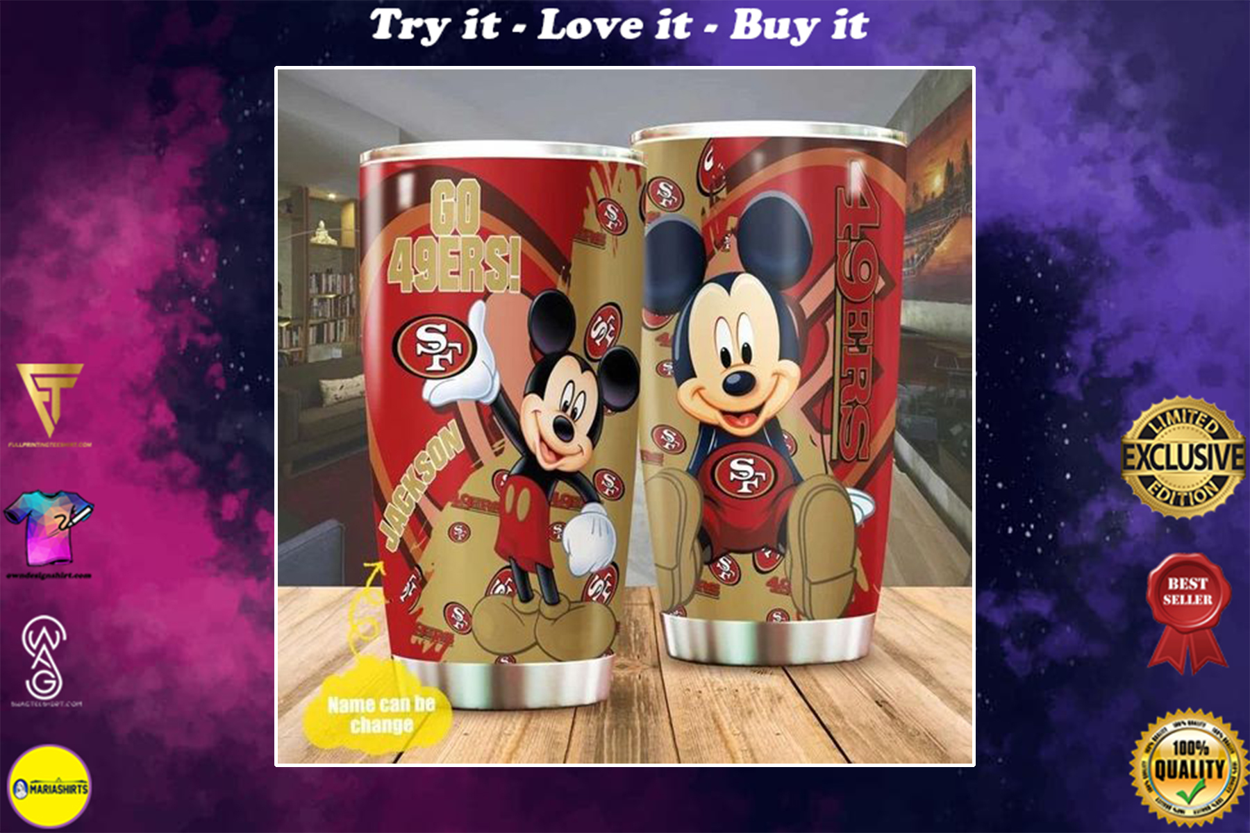 personalized name mickey mouse and san francisco 49ers tumbler