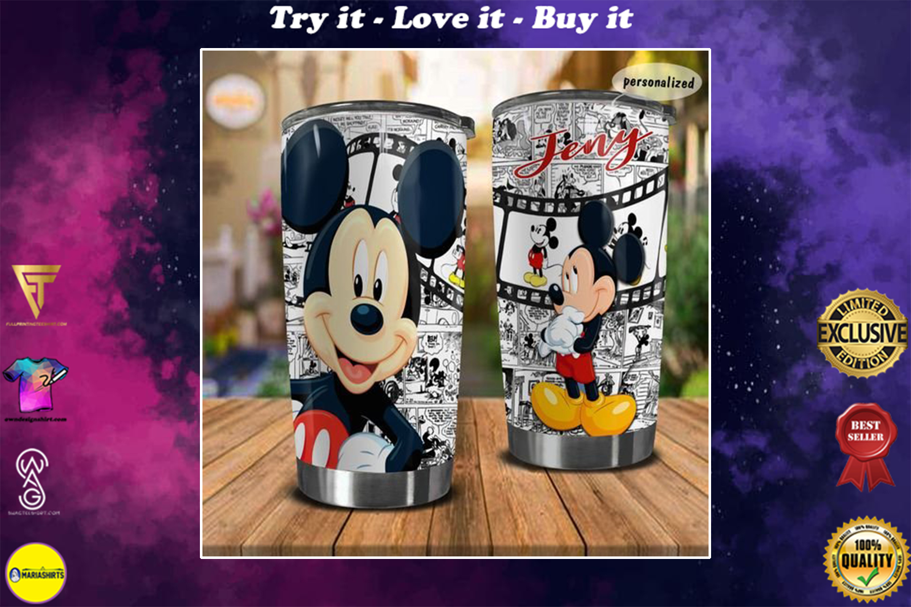 personalized name mickey mouse movie tumbler