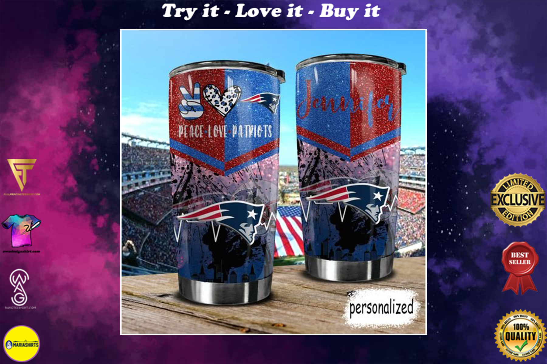 personalized name peace love new england patriots tumbler