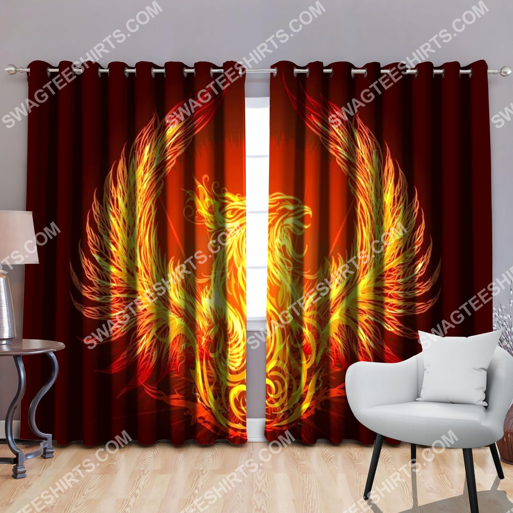 phoenix power with sun all over printed window curtains 2(3) - Copy