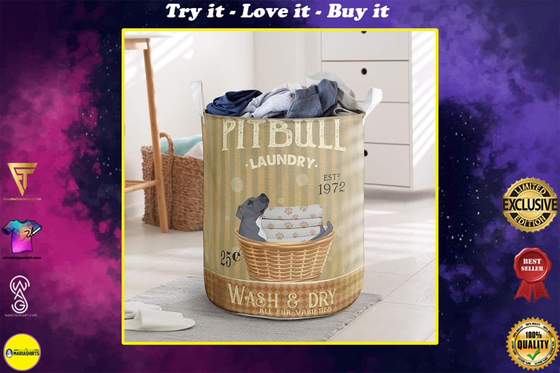 pitbull wash and dry all over print laundry basket