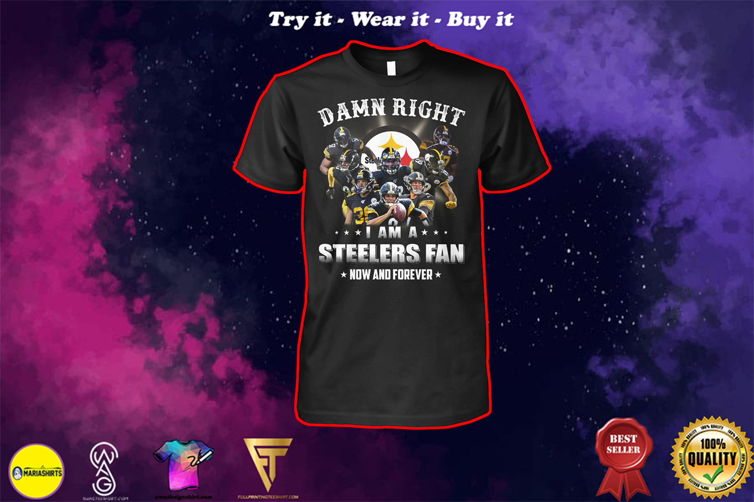 pittsburgh steelers damn right i am a steelers fan now and forever shirt