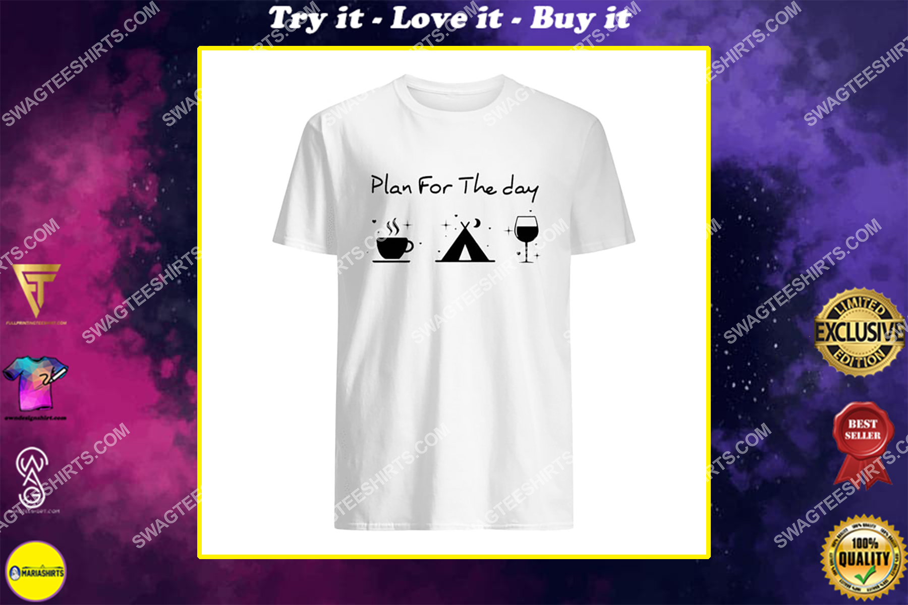 plan for the day coffee camping and wine for camper shirt