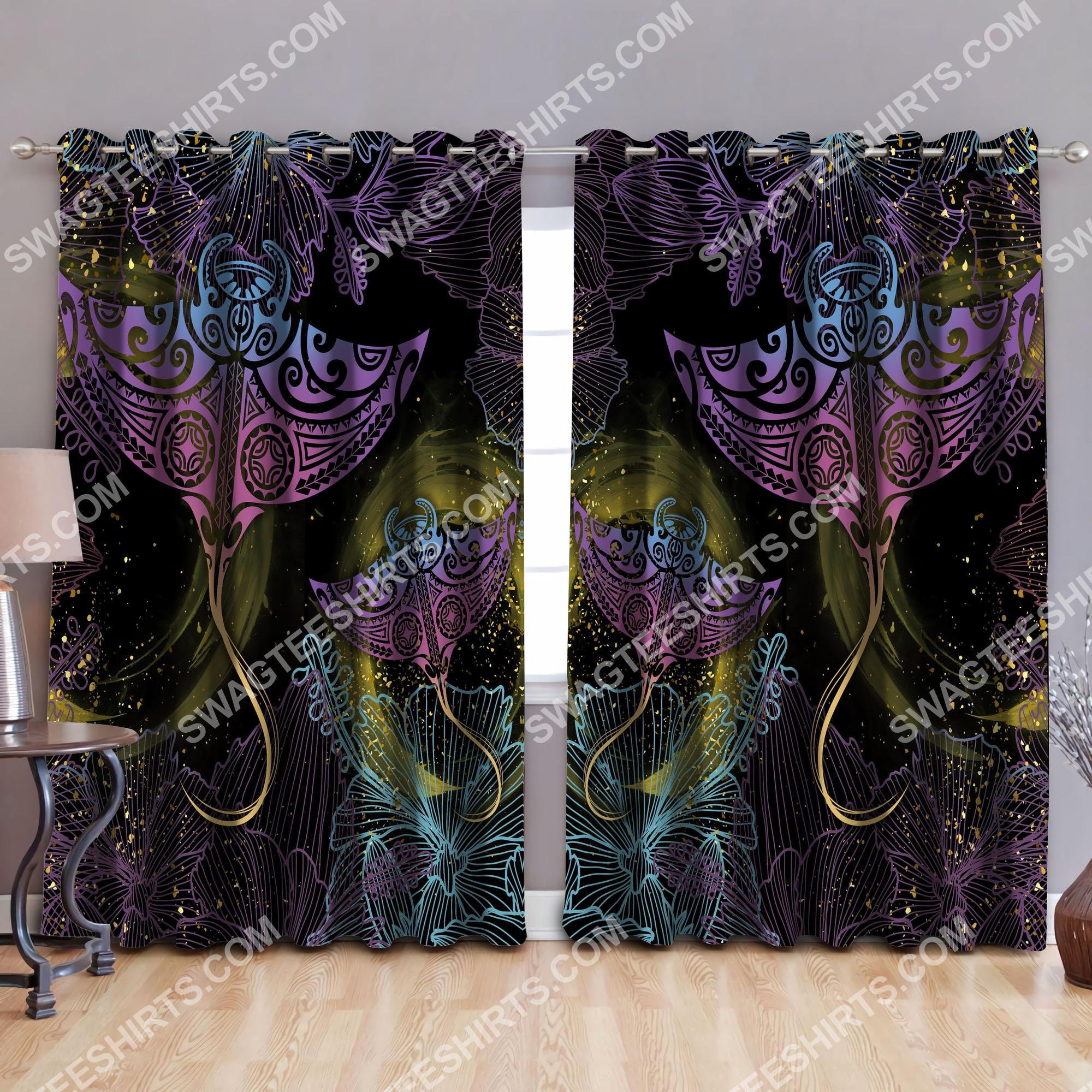 polynesian beautiful ray galaxy all over printed window curtains 2(1)