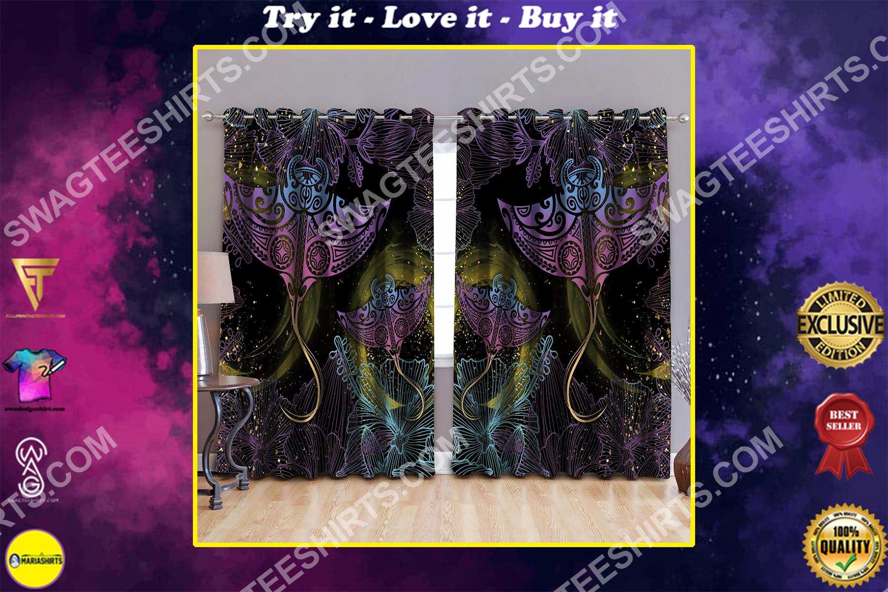 polynesian beautiful ray galaxy all over printed window curtains