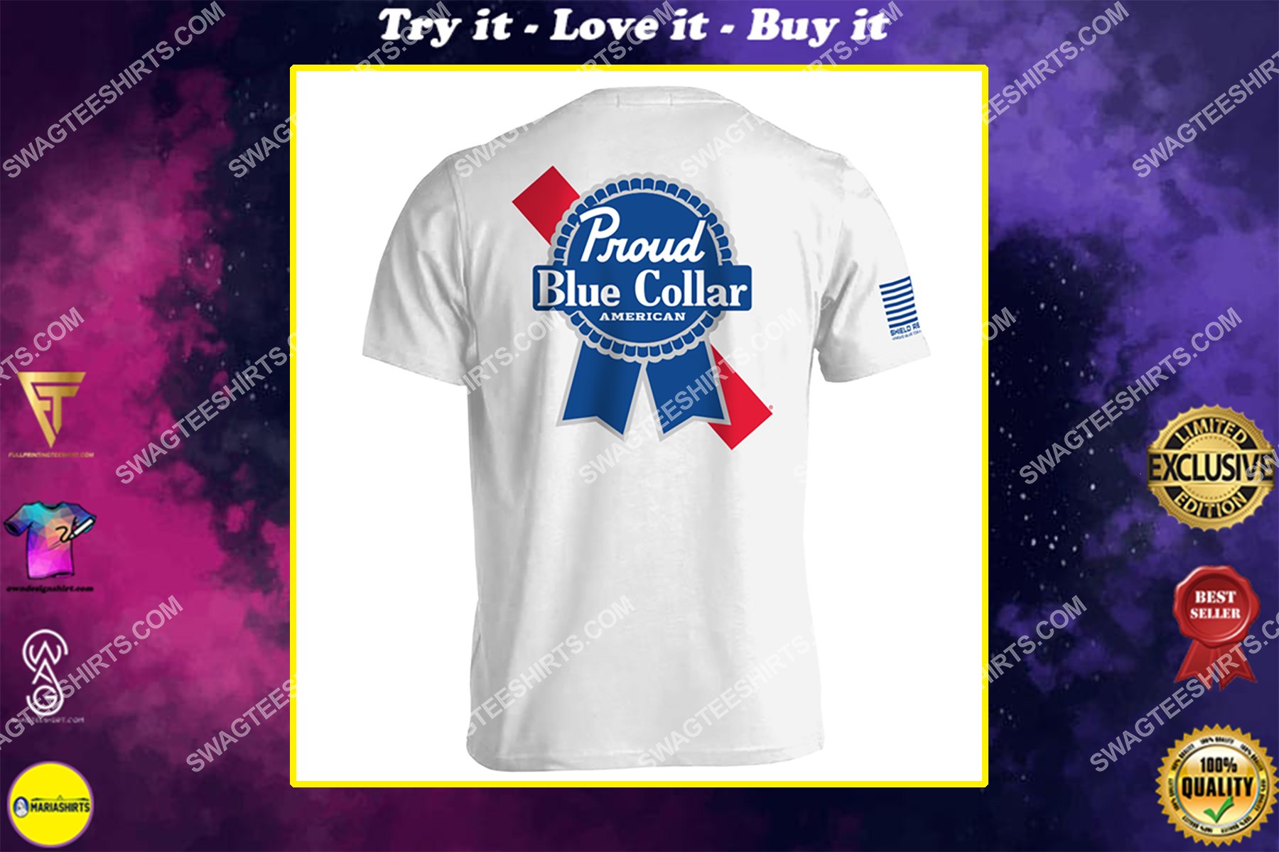proud blue collar american political shirt