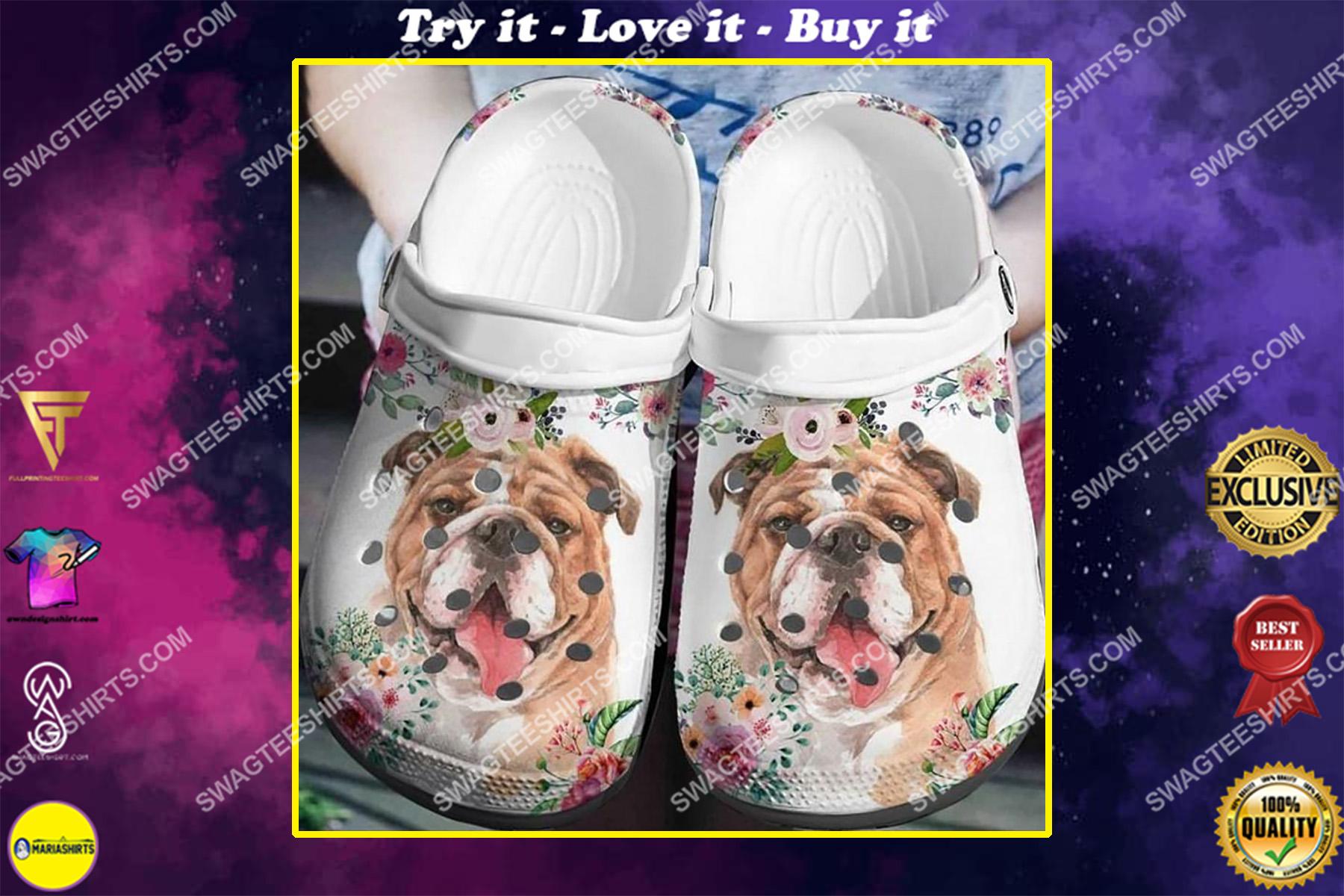 pug dog and flowers all over printed crocs crocband clog