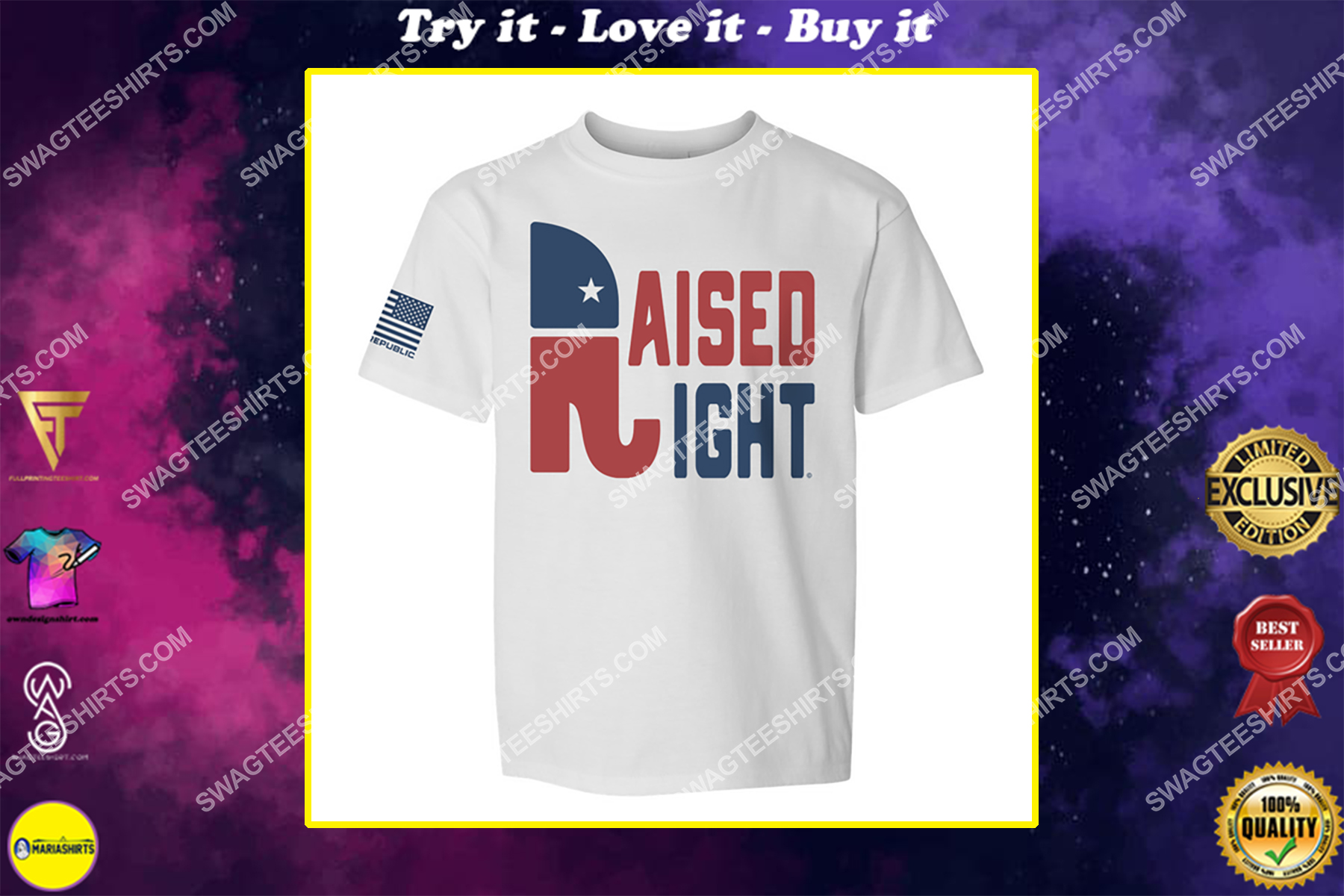 raised right republican elephant political full print shirt
