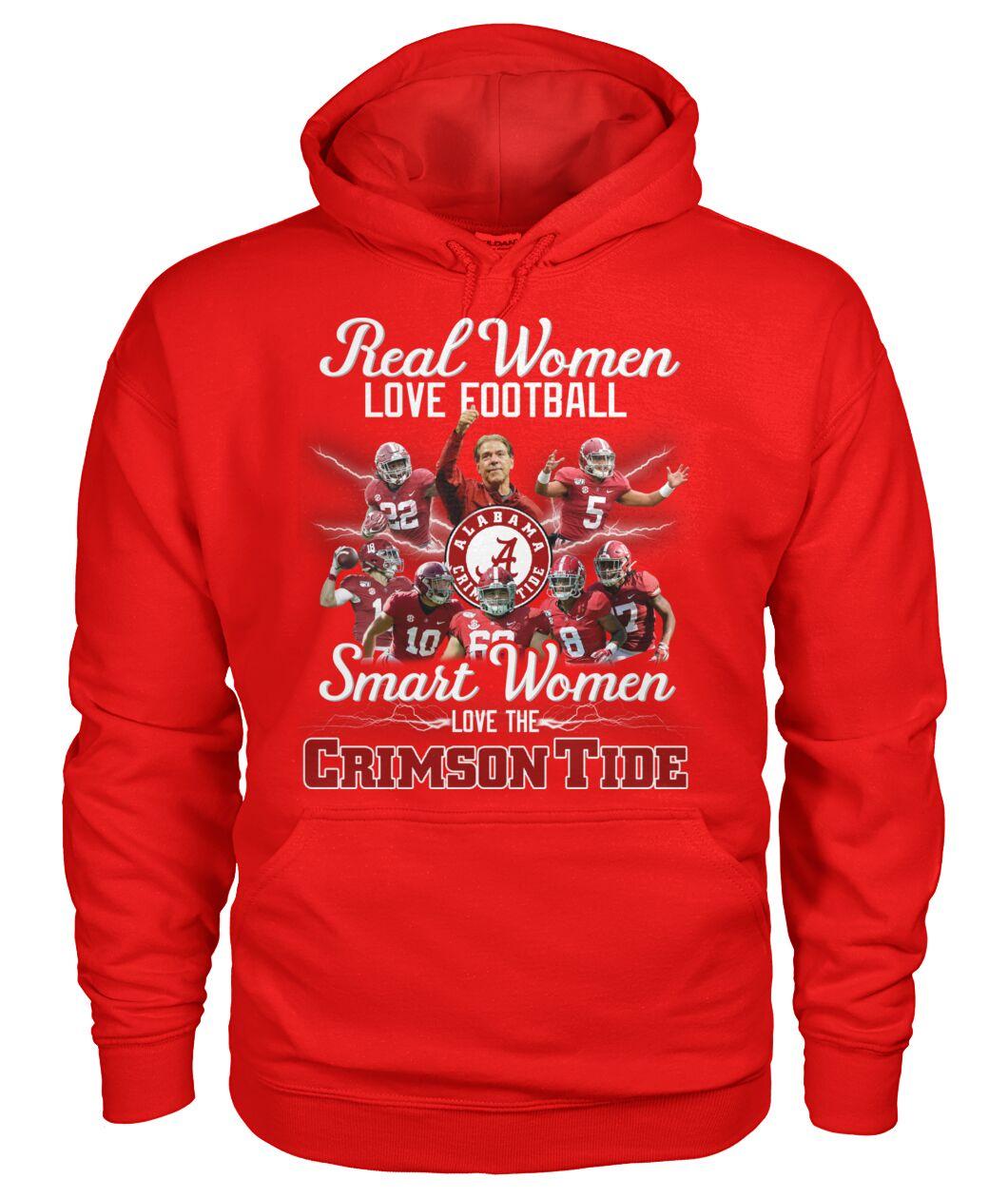 real women love football smart women love the alabama crimson tide football hoodie
