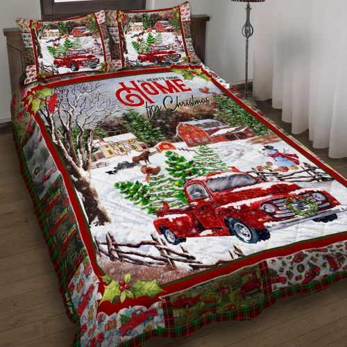red truck all hearts come home for christmas all over print bedding set 2