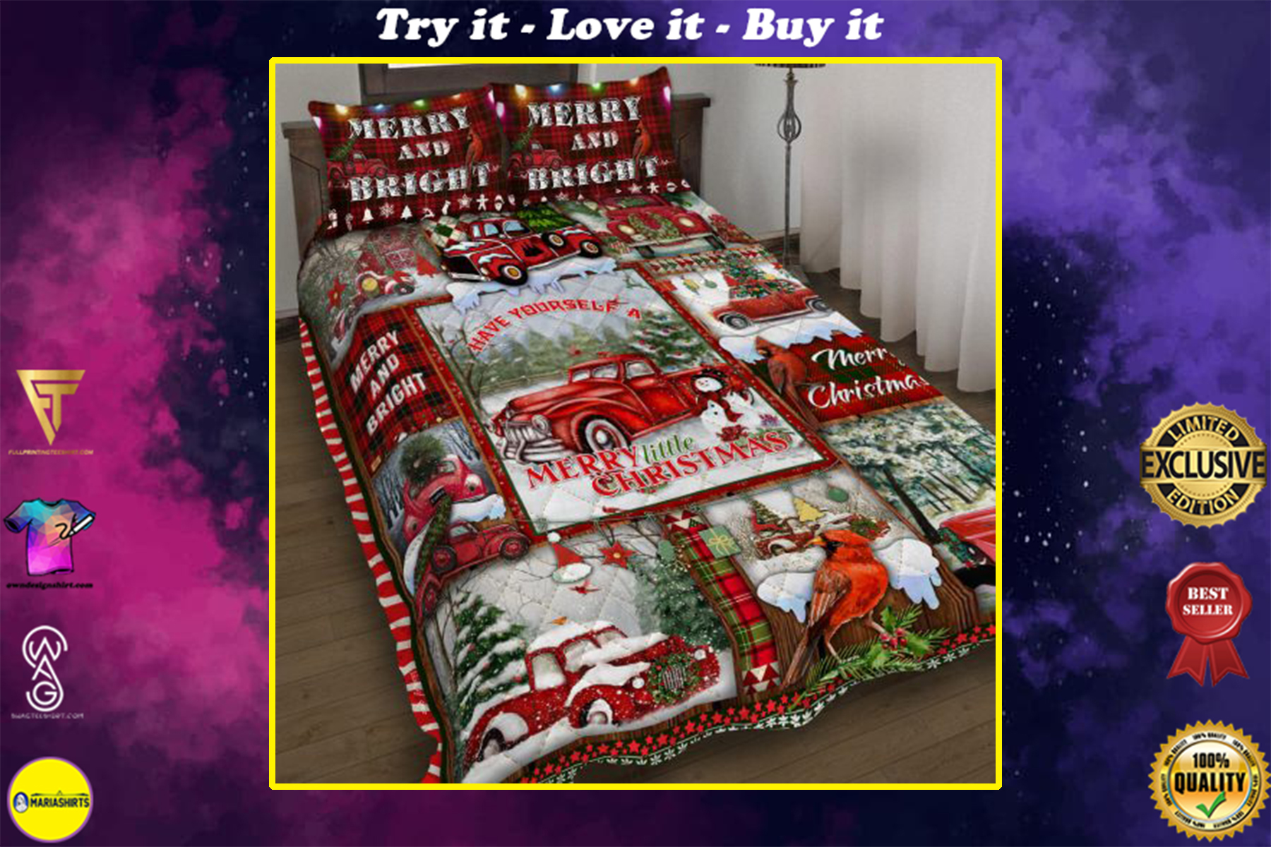 red truck have yourself a merry little christmas bedding set