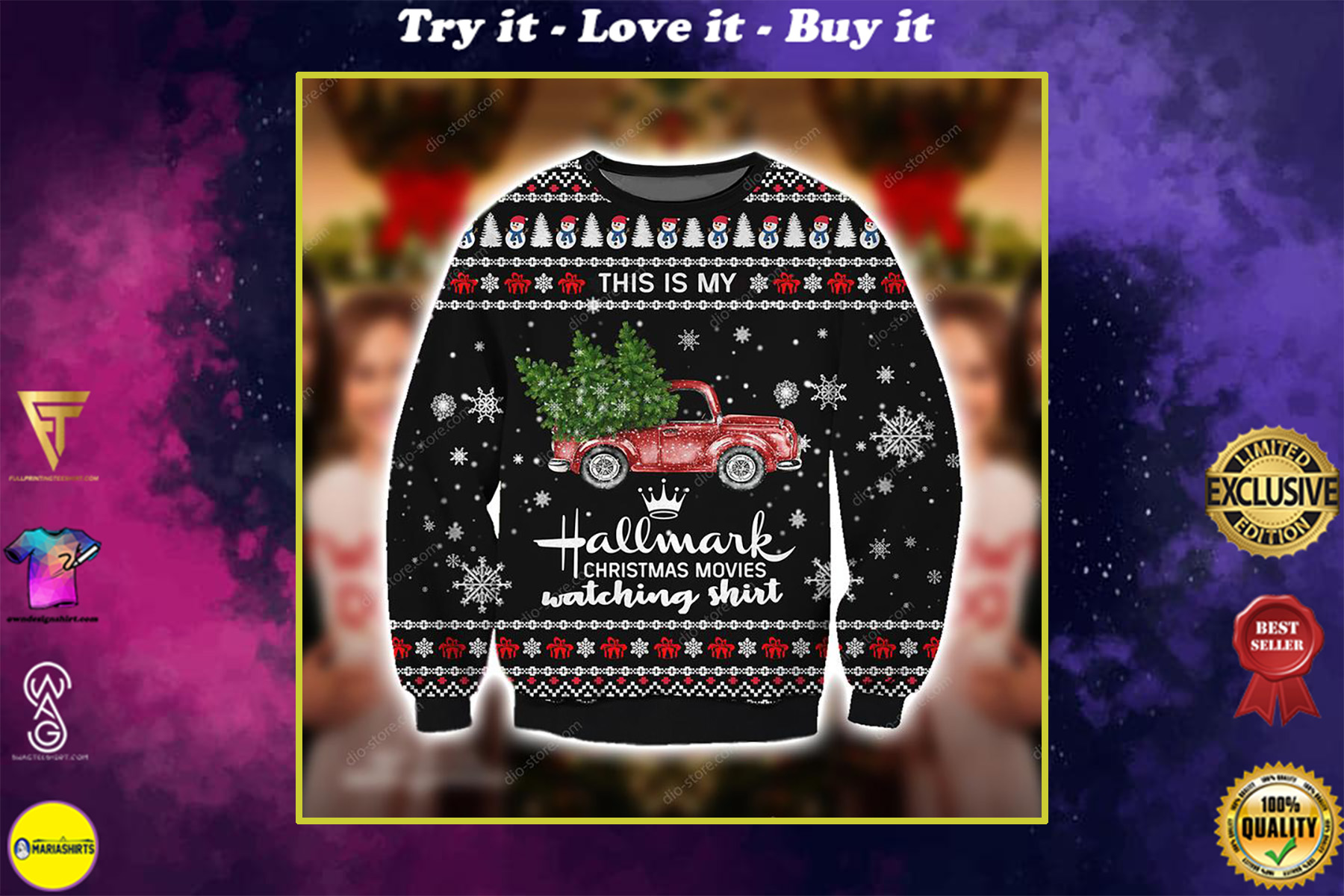 red truck this is my hallmark christmas movie watching ugly christmas sweater