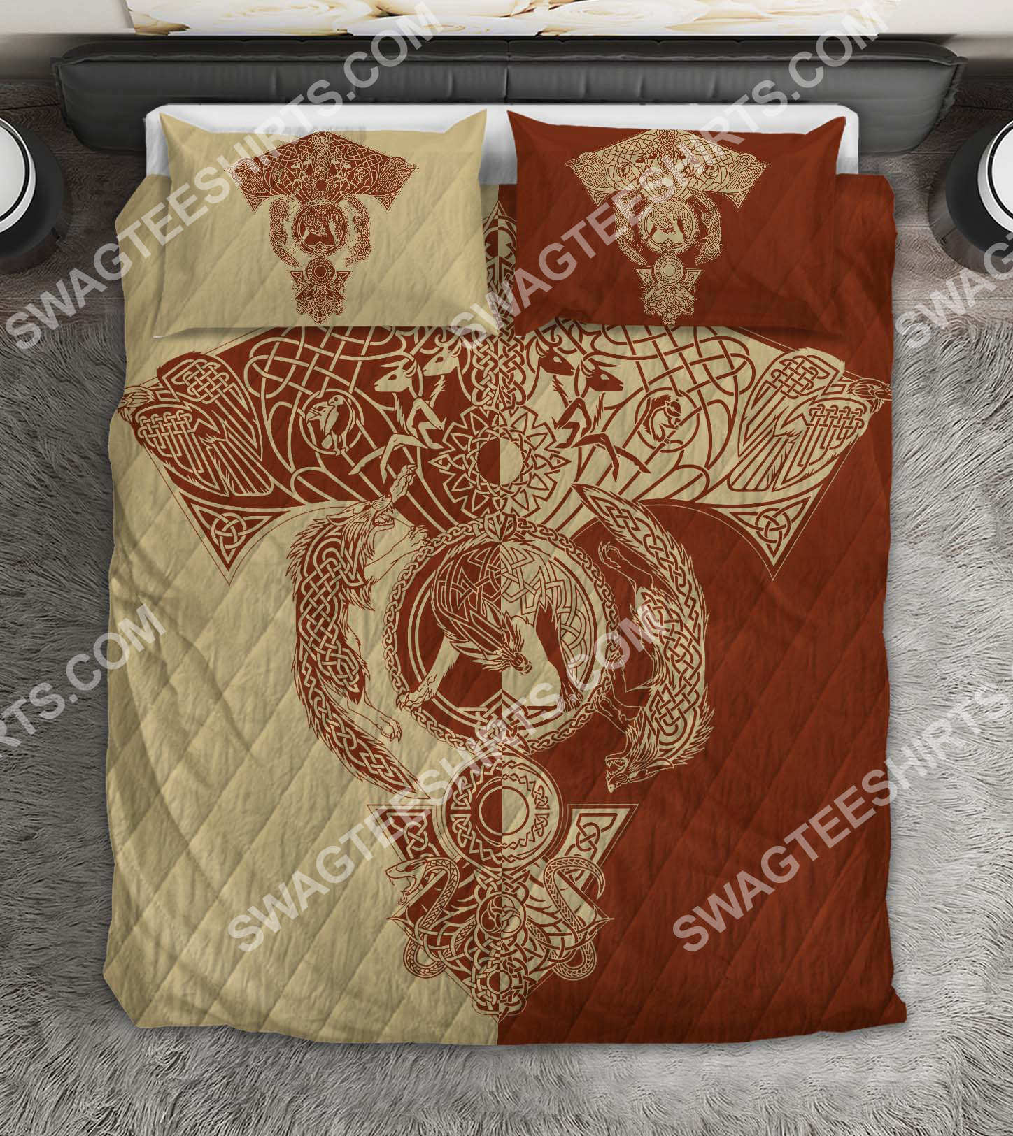 red wolf viking all over printed bedding set 2(1)