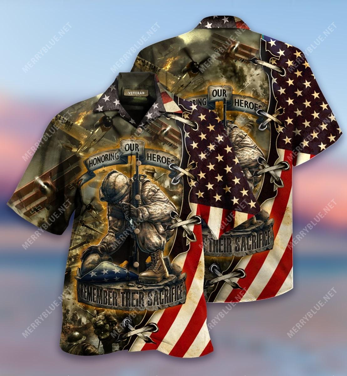 remember their sacrifice veteran all over printed hawaiian shirt 3