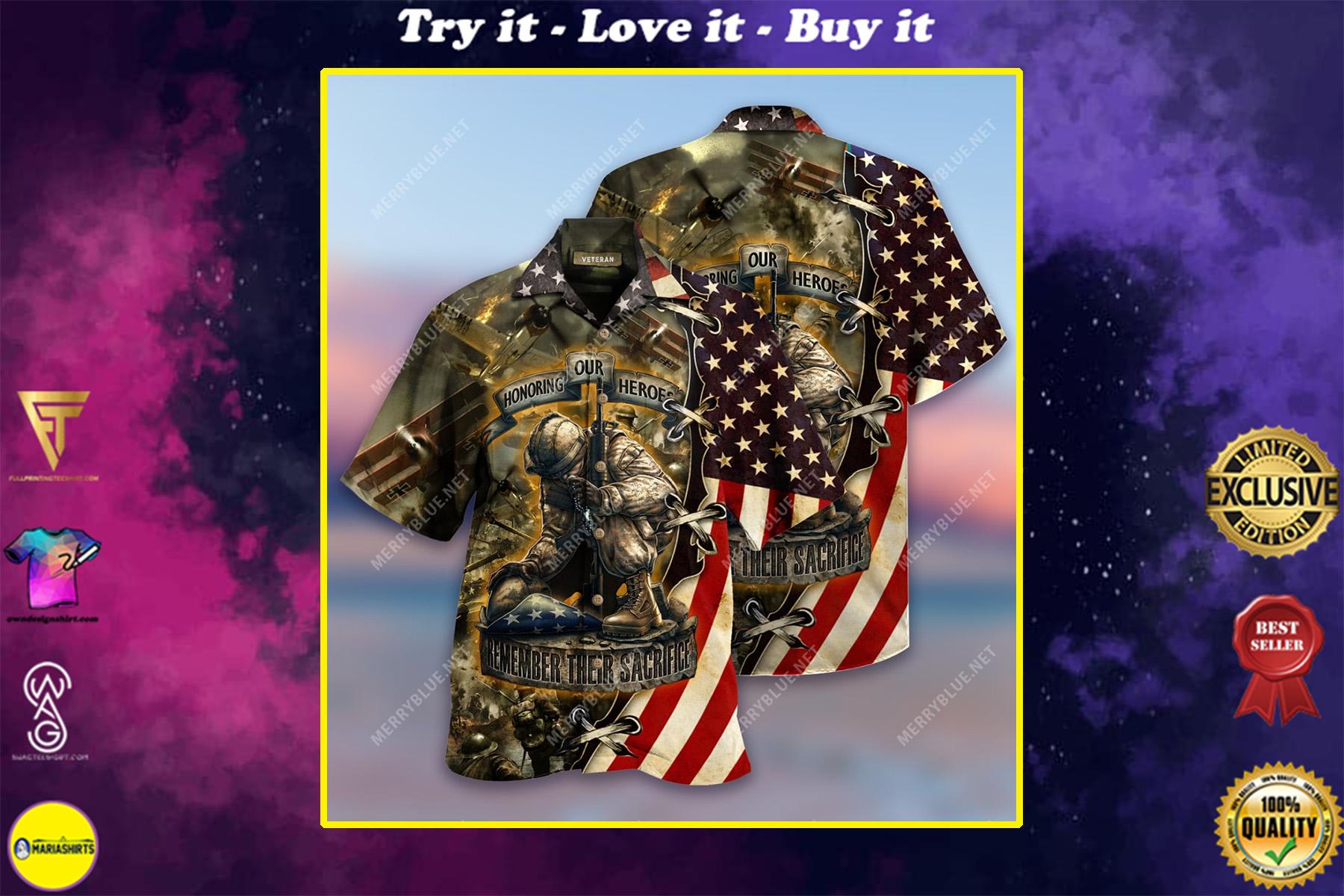 remember their sacrifice veteran all over printed hawaiian shirt