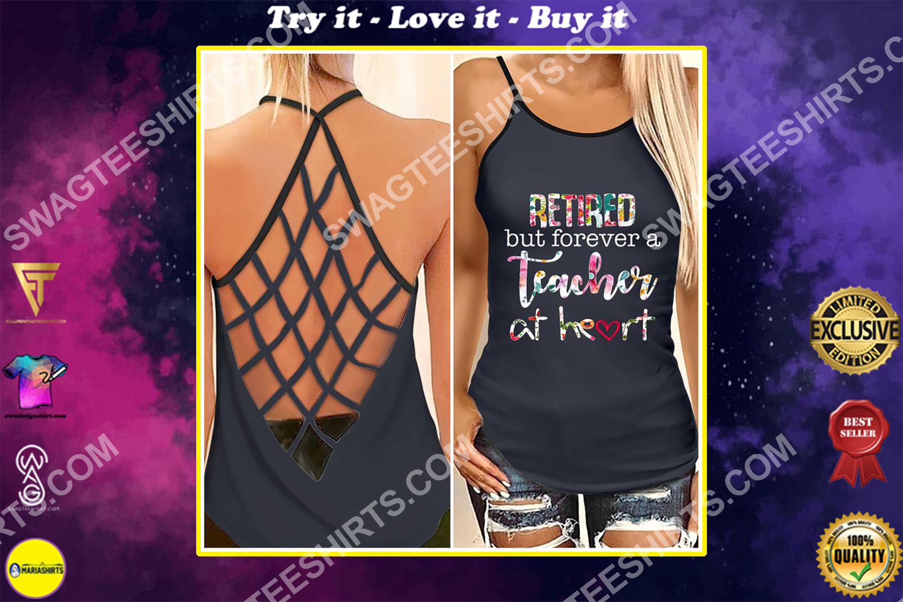 retired but not forever a teacher at heart strappy back tank top