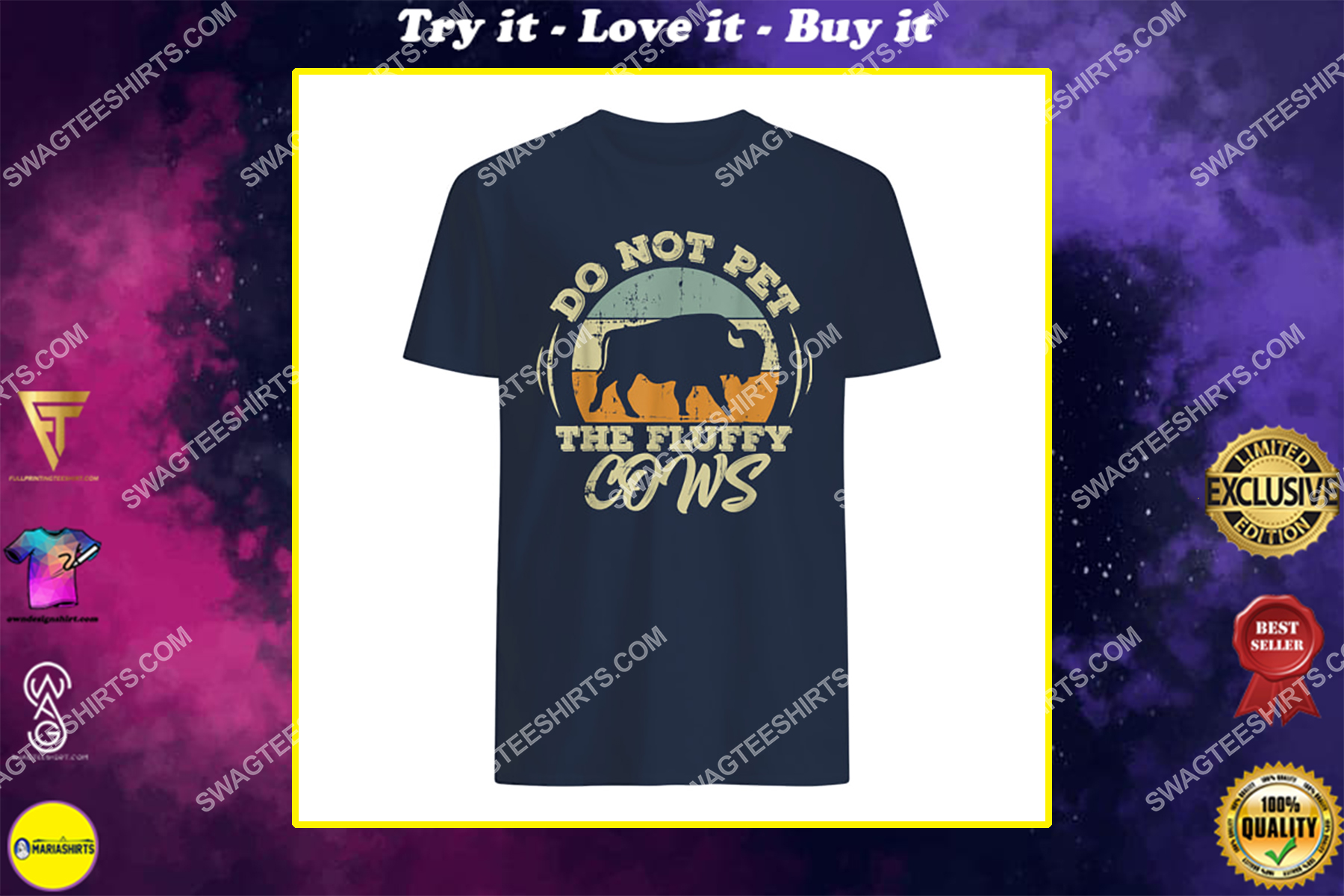 retro do not pet the fluffy cows vintage bison hunt shirt