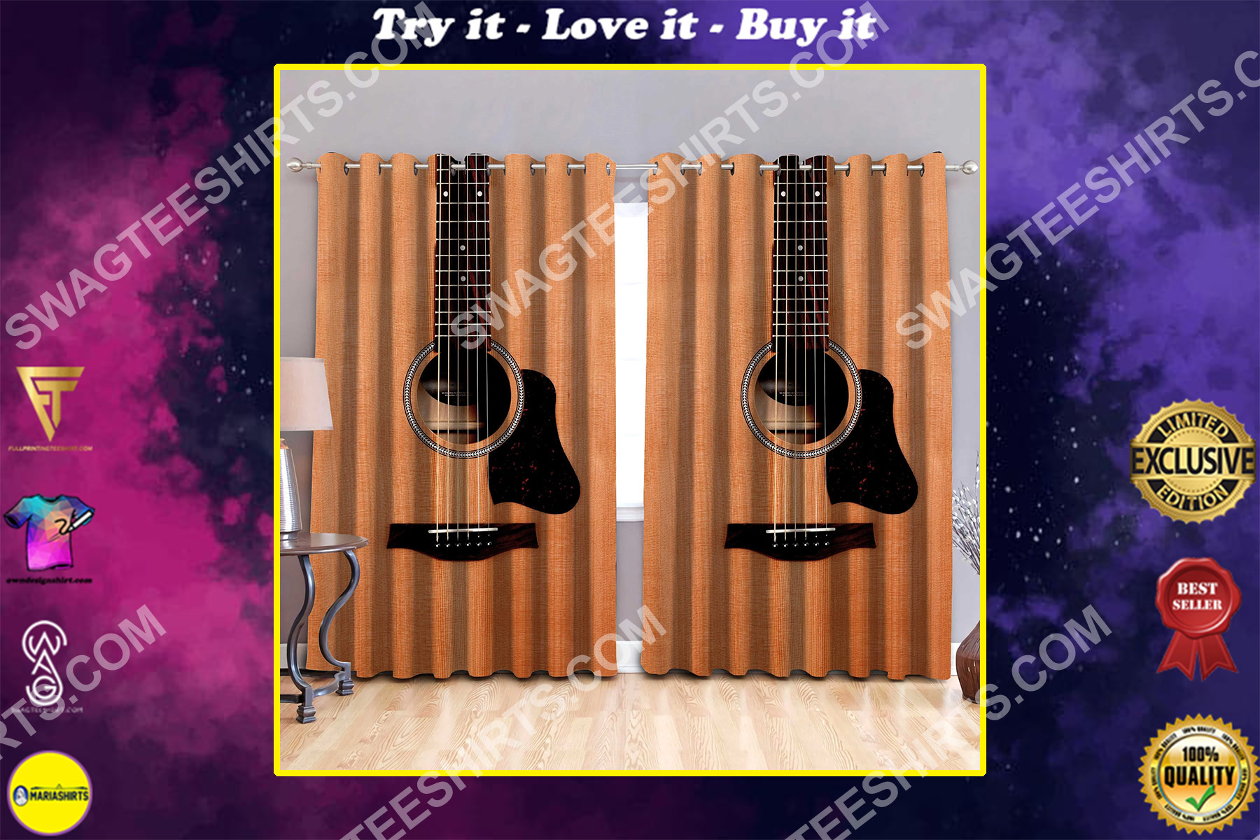 retro guitar musical all over printed window curtains
