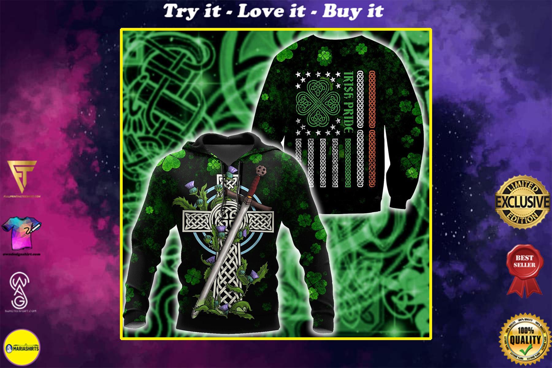 saint patricks day irish pride and sword full printing shirt