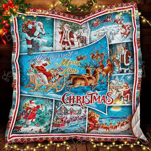 santa claus and reindeer red truck have yourself a merry little christmas quilt 2