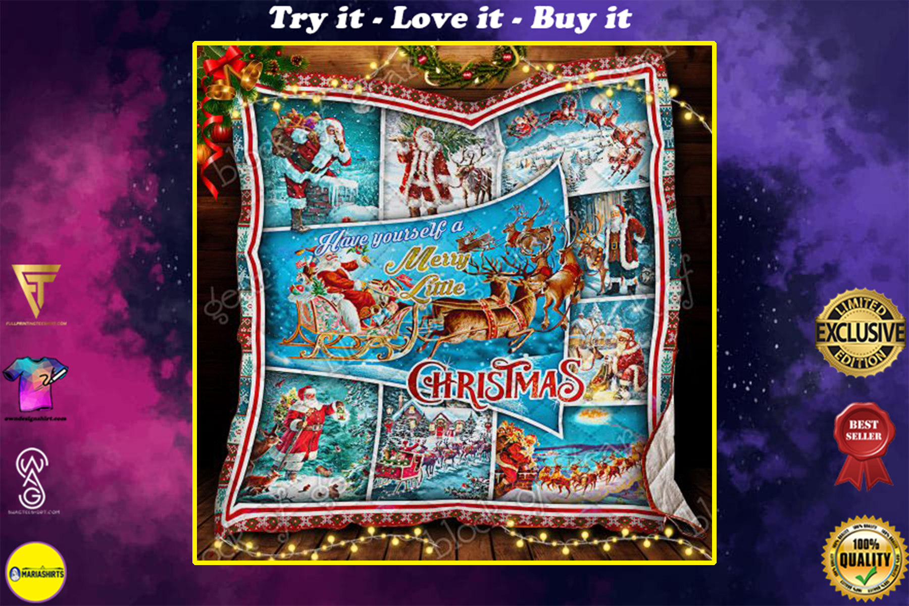 santa claus and reindeer red truck have yourself a merry little christmas quilt