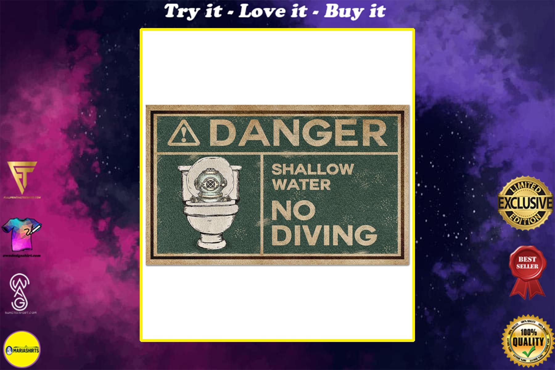 scuba diver danger shallow water no diving full printing doormat