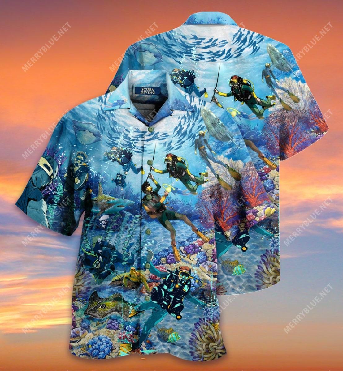 scuba diving all over printed hawaiian shirt 2