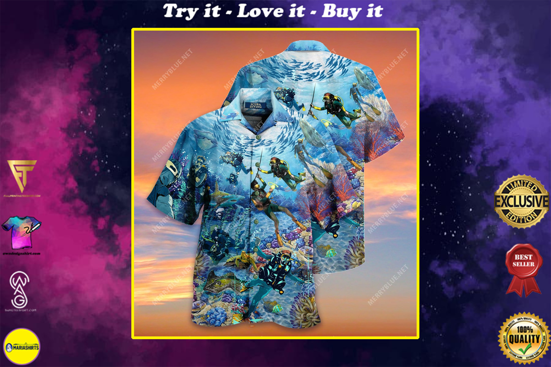 scuba diving all over printed hawaiian shirt