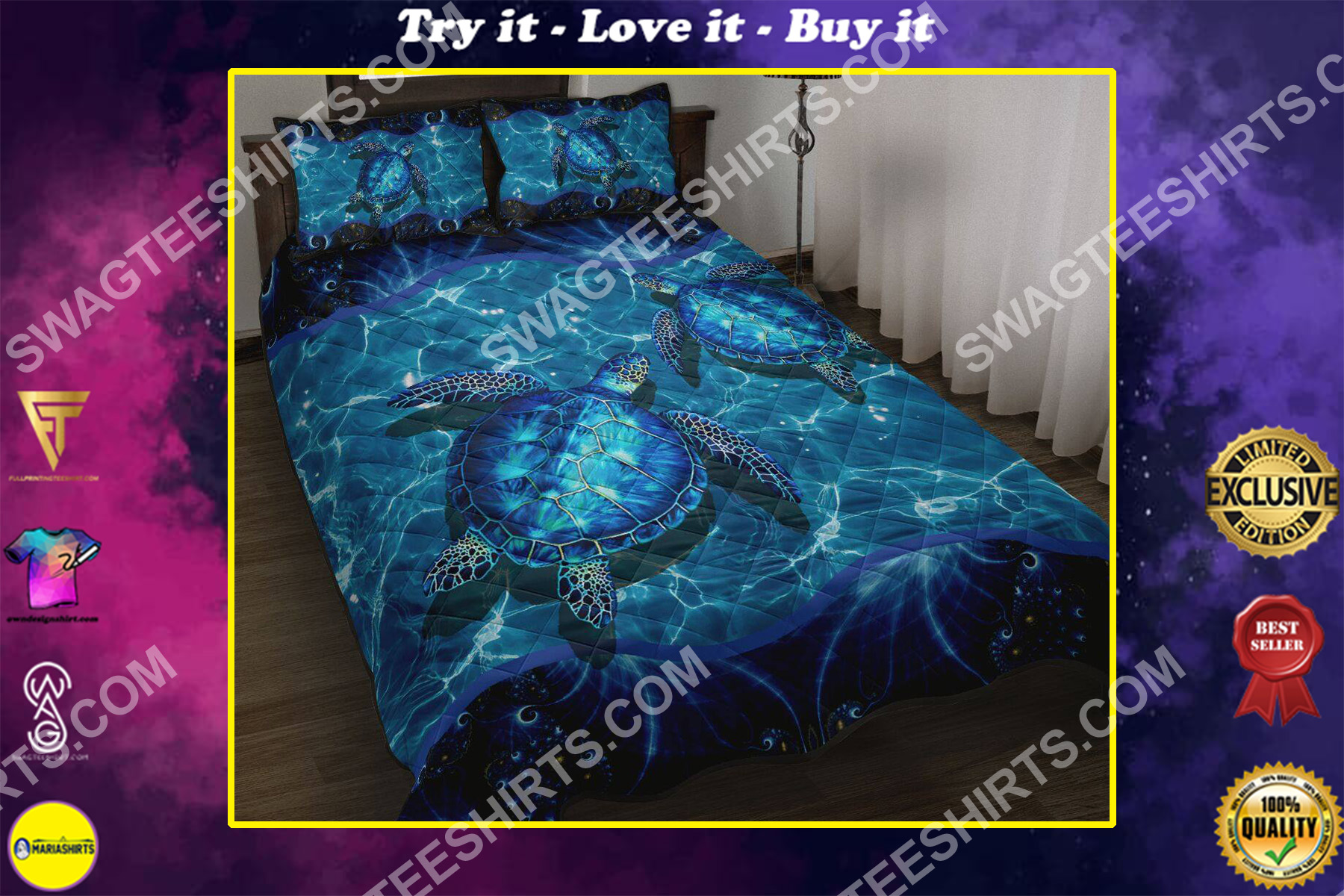 sea turtle all over printed bedding set
