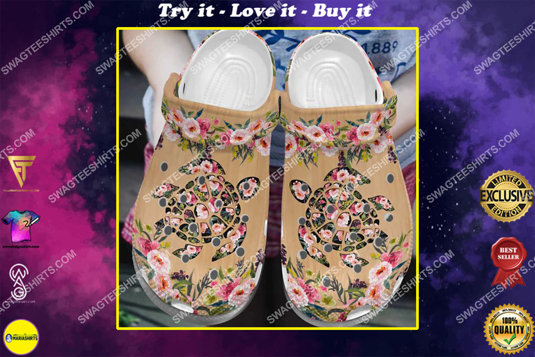 sea turtle and flower all over printed crocs